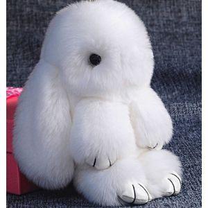 Кролик брелок из натурального меха белый