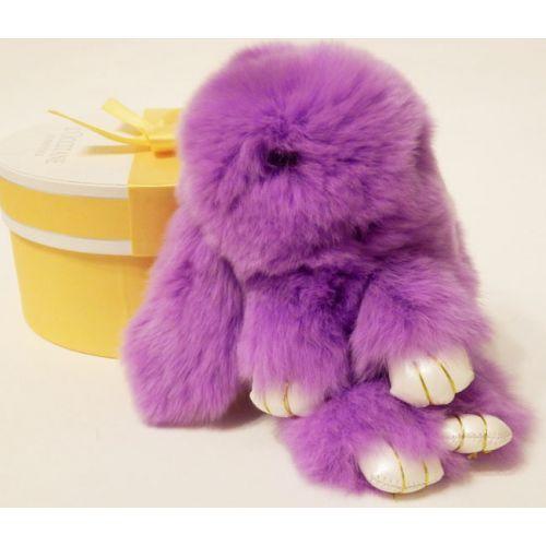 Кролик брелок из натурального меха фиолетовый