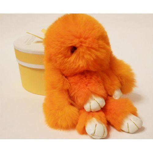 Кролик брелок из натурального меха оранжевый